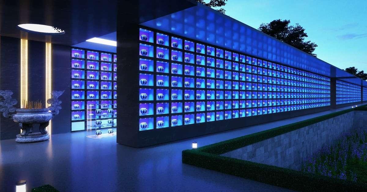 Tường lưu giữ tro cốt với hệ thống đèn led và khóa từ tại hoa viên Sala Garden.